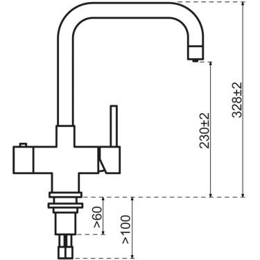 Kokendwaterkraan Haaks Goud (Combi boiler)  - Selsiuz