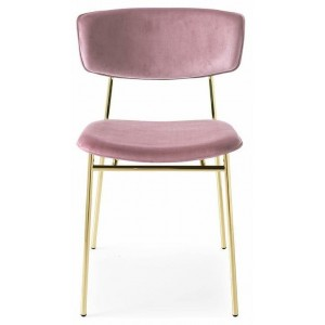 Fifties stoel messing velours roze - Calligaris