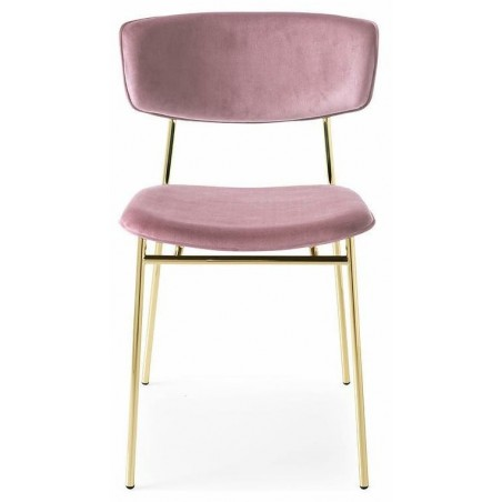 Fifties stoel goud velvet roze - Calligaris