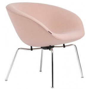 Pot lounge chair gestoffeerd chroom - Fritz Hansen
