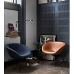 Pot lounge chair zwart leer - Fritz Hansen