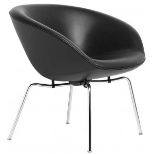 Pot lounge chair zwart leer - Fritz Hansen
