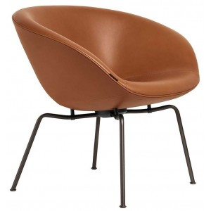 Pot lounge chair walnoot leer - Fritz Hansen