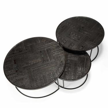 Ancestors Tabwa Round Nesting salontafels - Ethnicraft
