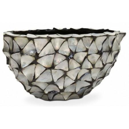 Ovale schelpenpot Mother of Pearl Zilver H30 - Pot & Vaas
