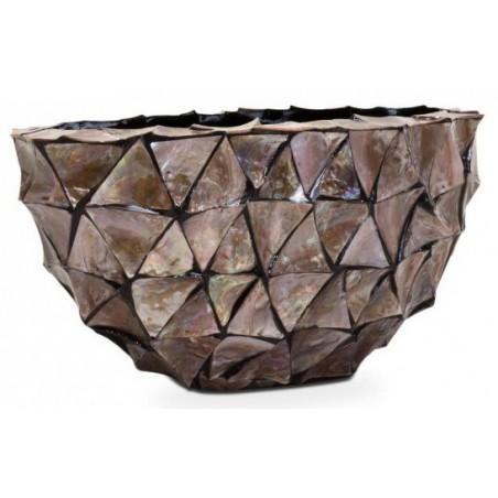 Ovale schelpenpot Mother of Pearl Bruin H30 - Pot & Vaas