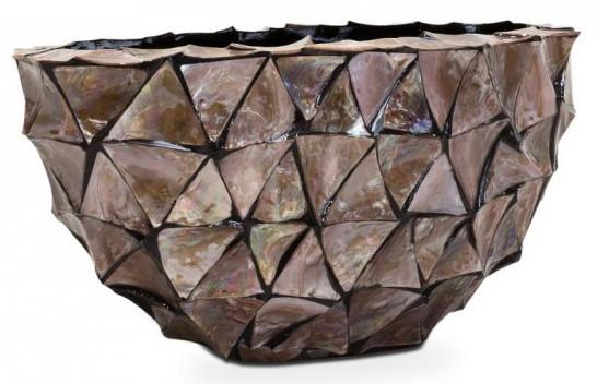 5 Mooie Vazen : Ovale schelpenpot mother of pearl bruin h30 pot & vaas