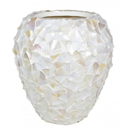 Pot Mother of Pearl schelpenpot Wit H80 - Pot & Vaas