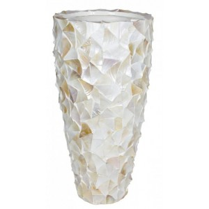 Pot Mother of Pearl schelpenpot Wit H96 - Pot & Vaas
