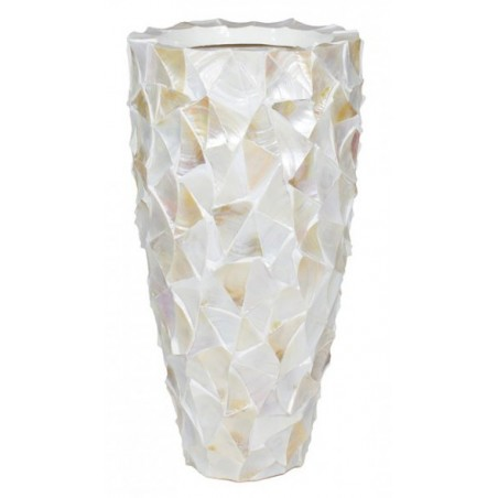 Pot Mother of Pearl schelpenpot Wit H77 - Pot & Vaas