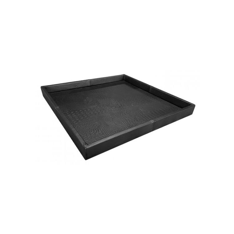 Exclusief croco leren dienblad zwart 60x60 - Pot & Vaas