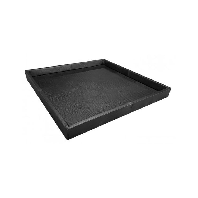 Exclusief croco leren dienblad zwart 80x80 - Pot & Vaas