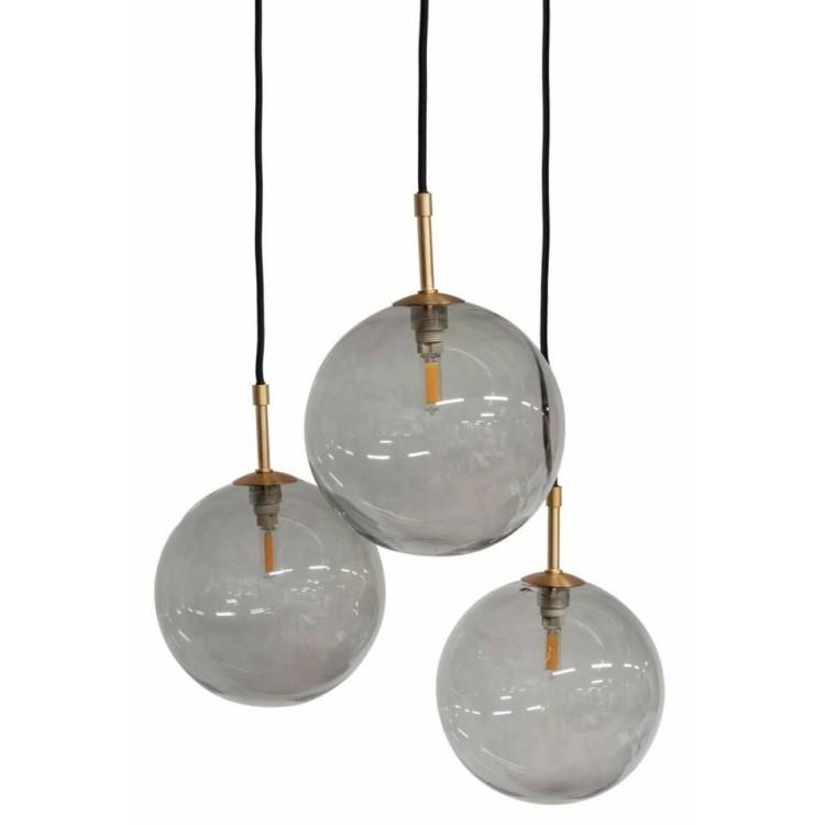 Hanglamp 3 smoke glasses - Dôme Deco