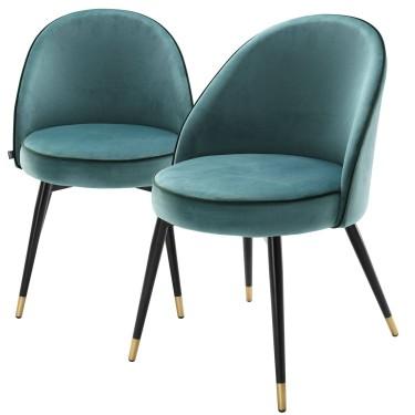 Cooper eetkamerstoel set van 2 turquoise - Eichholtz