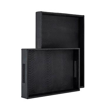 Blane croco dienblad set van 2 zwart - Richmond
