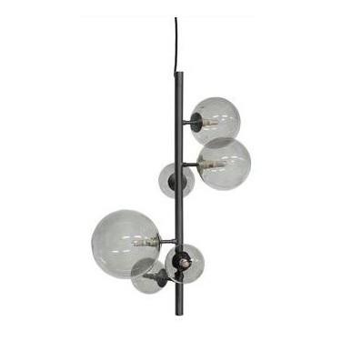 Hanglamp Metal Black & Smoke Glass  - Dôme Deco