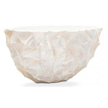 Ovale schelpenpot Mother of Pearl Wit H30 - Pot & Vaas
