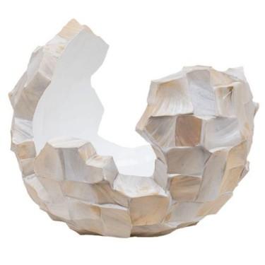 Schelpenpot broken bowl 45cm wit-  Concept Living