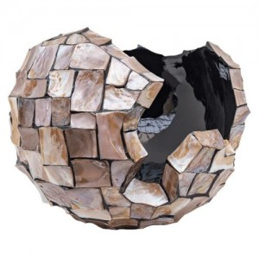 Schelpenpot broken bowl 45cm bruin - Concept Living