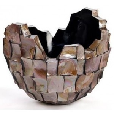 Schelpenvaas broken bowl 40cm bruin -  Concept Living
