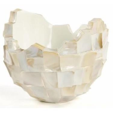 Schelpenvaas broken bowl 40cm wit - Concept Living