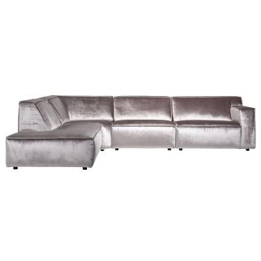 Devon 3-Sitzer Sofa Chaiselongue Stein glänzenden Samt - Richmond