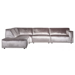 Devon 3zits bank chaise longue stone shiny velvet - Richmond