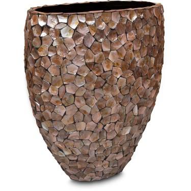 Mother of Pearl schelpenpot ovaal bruin H100 cm - Pot & Vaas