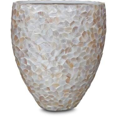Mother of Pearl schelpenpot ovaal Wit H100 - Pot & Vaas