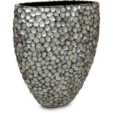Mother of Pearl schelpenpot ovaal Zilver H100 - Pot & Vaas