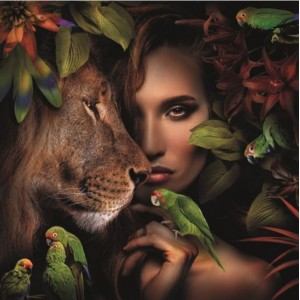 Woman With Lion and Parrots...