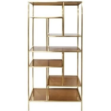 Machati bookcase brushed gold brown glass - Dôme Deco
