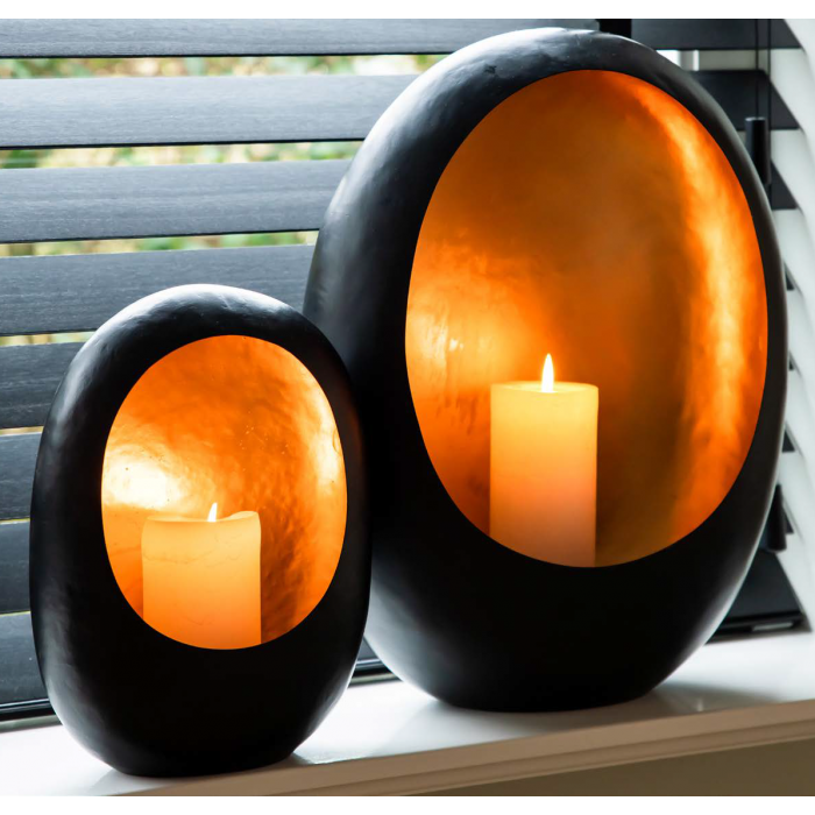 2Roann candle holder black with gold medium - Richmond