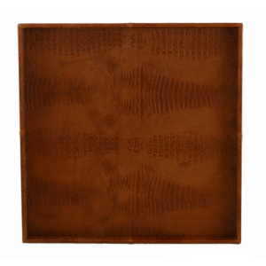 Exclusief croco leren dienblad cognac 60x60 - Pot & Vaas