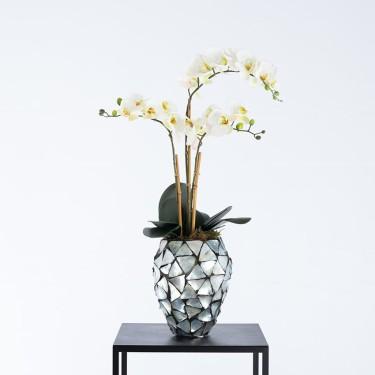 Beau schelpenpot zilver gevuld met orchideeën - Pot & Vaas