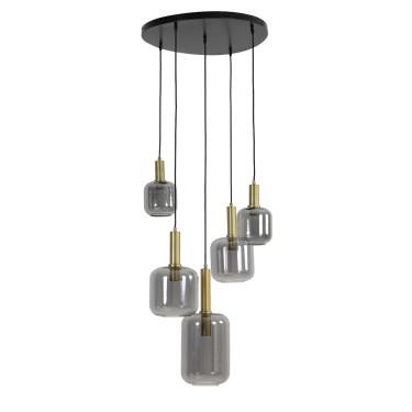 Lekar hanglamp 5-lichts brons smoke glass - Light & Living