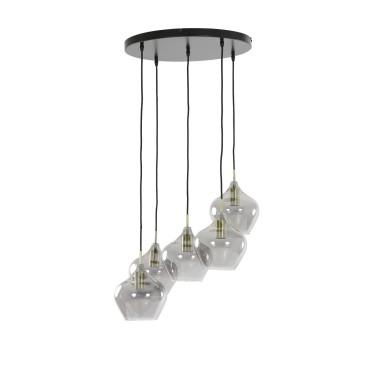 Rakel hanglamp 5-lichts brons smoke glass - Light & Living