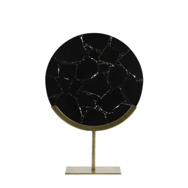 Gouya Ornament on foot 35x12x50 cm agate black + antique bronze - Light & Living