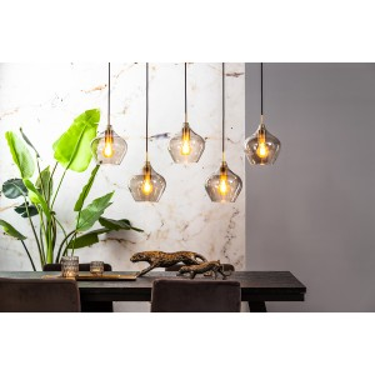 Rakel hanglamp 5-lichts 104x20x120 cm brons smoke glass - Light & Living