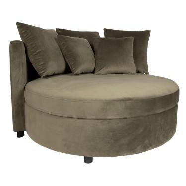 Fayen velvet round lounge armchair khaki - PTMD Collection