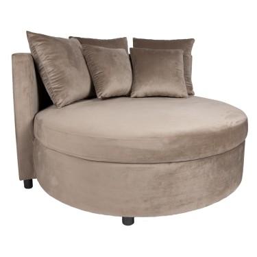 Fayen velvet round lounge armchair sand - PTMD Collection