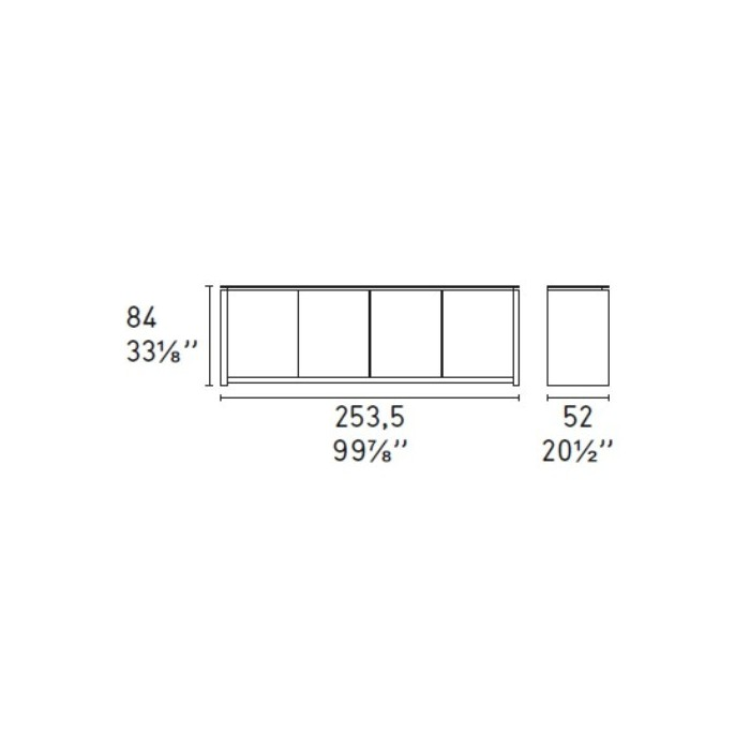 2Mag eiken 4-deurs dressoir - Calligaris